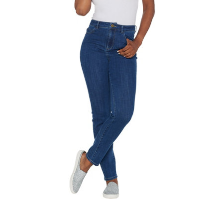 As Is Logo By Lori Goldstein Petite Skinny Leg High Waisted Jeans
