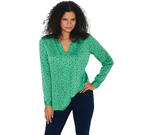 Vince Camuto Long-Sleeve Polka Dot Split-Neck Tunic