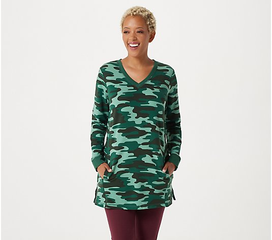 """As Is"" Denim & Co. Active Camo Printed French Terry Tunic with Pockets"