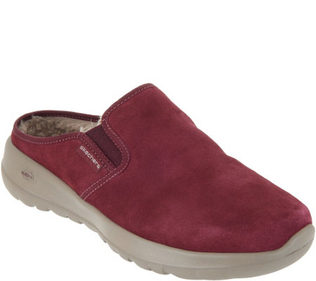 """As Is"" Skechers GOwalk Joy Water- Repellent Suede Clogs-Snuggly"