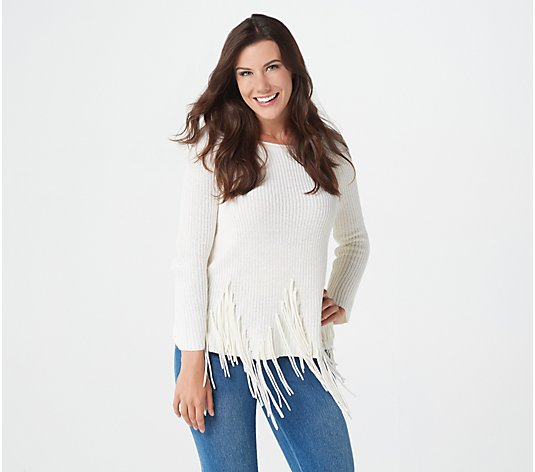 Attitudes by Renee Long-Sleeve Sweater with Fringe Detail