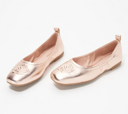 Taryn Rose Leather Rose Ballet Flats - Rosalie