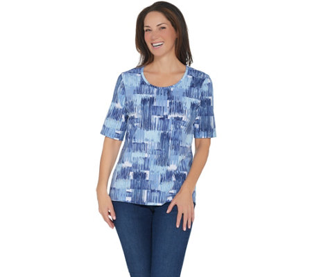 """As Is"" Denim & Co. Perfect Jersey Printed Elbow-Sleeve Scoop-Neck Top"