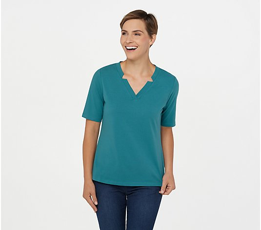 """As Is"" Denim & Co. Essentials Perfect Jersey V-Neck Elbow Sleeve Top"