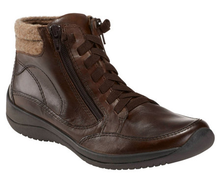Earth Leather Lace-Up Booties - Savant