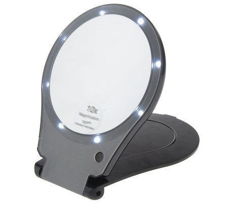 Floxite Lighted 10x Magnification Travel Mirror