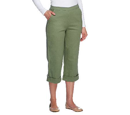 "Denim & Co. ""How Timeless"" Stretch Twill Cuffed Jean Capris"