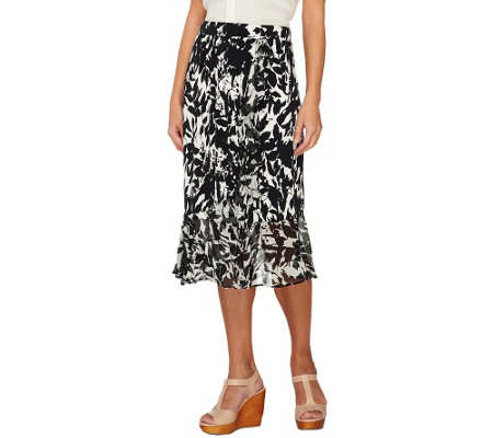 George Simonton Milky Knit Printed Skirt with Chiffon Ruffle Detail