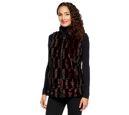 Dennis Basso Faux Fur Vest with Faux Leather Trim