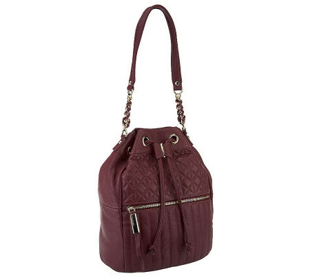 B.Makowsky Quilted Leather Drawstring Hobo Bag with Chain Detail