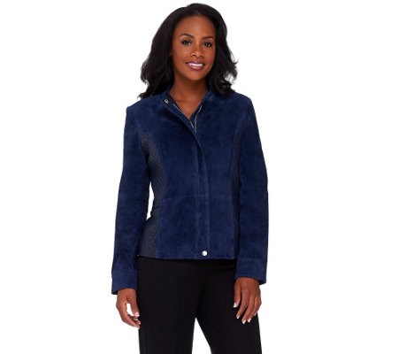 Isaac Mizrahi Live! Suede Jacket w/ Lamb Leather Quilted Details