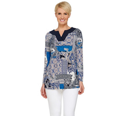 Susan Graver Printed Liquid Knit Long Sleeve Split Neck Tunic