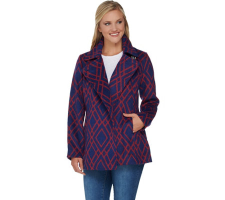 C Wonder Diamond Print Long Sleeve Coat