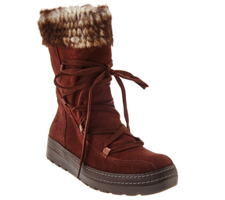"""As Is"" BareTraps Suede Water Repellent Faux Shearling Boots"