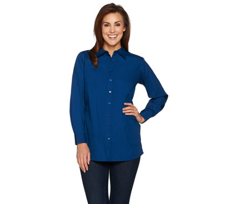 Joan Rivers Boyfriend Shirt with Curved Back Seam