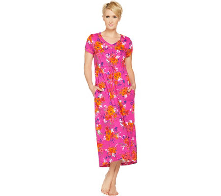 Stan Herman Petite Vibrant Gardens Cotton Hi-Lo Lounge Dress