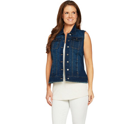 Women with Control My Wonder Denim Frayed Vest
