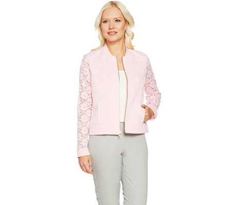 Isaac Mizrahi Live! Stretch Lace Knit Bomber Jacket