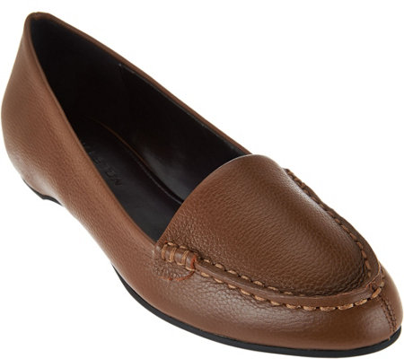 """As Is"" H by Halston Leather Slip-On Shoes with Hidden Wedge - Kellie"