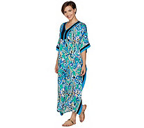 Ellen Tracy Jersey Knit V-Neck Long Caftan - A294438