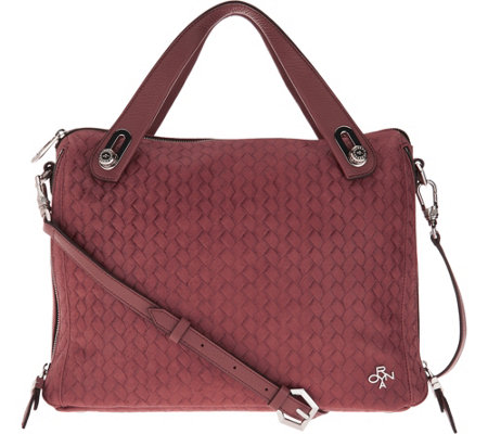 """As Is"" orYANY Embossed Woven Leather Satchel - Kaley"
