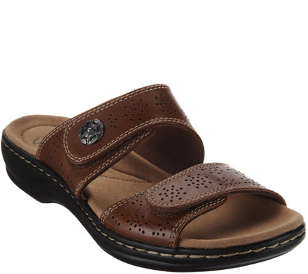 """As Is"" Clarks Leather Double Adjust Slide Sandals - Leisa Lacole"