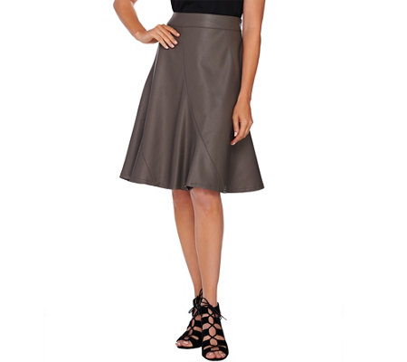 """As Is"" GK George Kotsiopoulos Paneled Faux Leather Skirt"