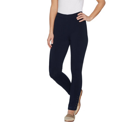 Susan Graver Regular Premium Stretch Leggings with Lacing
