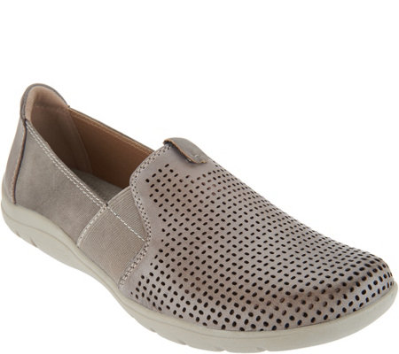 Earth Origins Perforated Leather Slip-On Shoes - Tanner