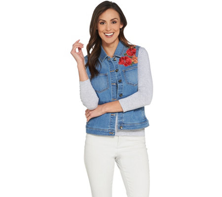 GRAVER Susan Graver High Stretch Denim Vest with Embroidery
