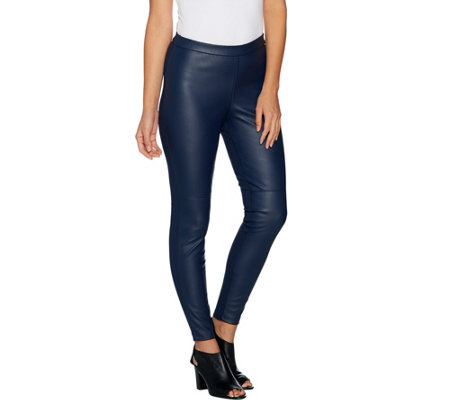 """As Is"" H by Halston Petite Faux Stretch Leather and Ponte Leggings"