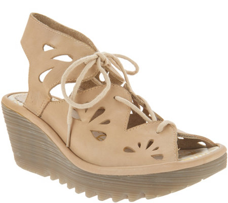 FLY London Leather Lace Up Wedges - Yote
