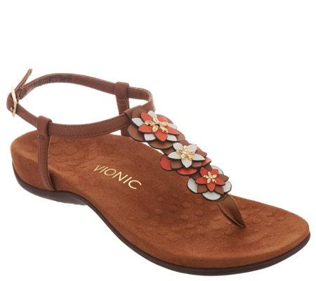 1c67f49e73fb Vionic Floral T-Strap Sandals - Paulie - Page 1 — QVC.com