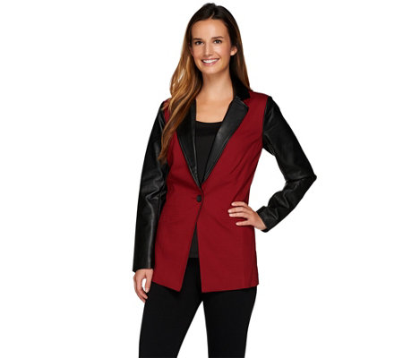 As Is Linea By Louis Dell Olio Color Block Button Front Blazer