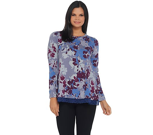 LOGO Lounge by Lori Goldstein Printed French Terry Top w/ Lace Trim