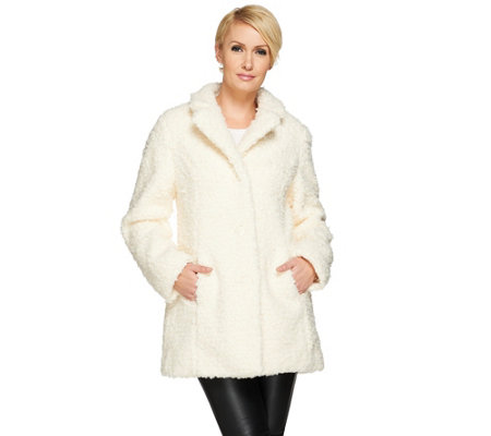 """As Is"" Isaac Mizrahi Live! Faux Fur Coat"