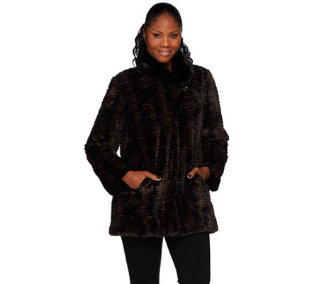 """As Is"" Dennis Basso Faux Fur Shawl Collar Swing Coat"