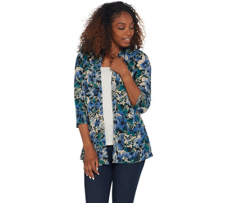 Denim & Co. Printed Brushed Heavenly Jersey 3/4-Sleeve Peplum Cardigan