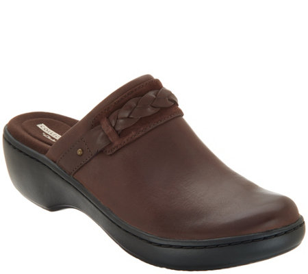Clarks Collection Leather Slip-on Clogs - Delana Abbey