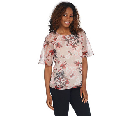 Vince Camuto Ruffle Short Sleeve Timeless Blooms Blouse