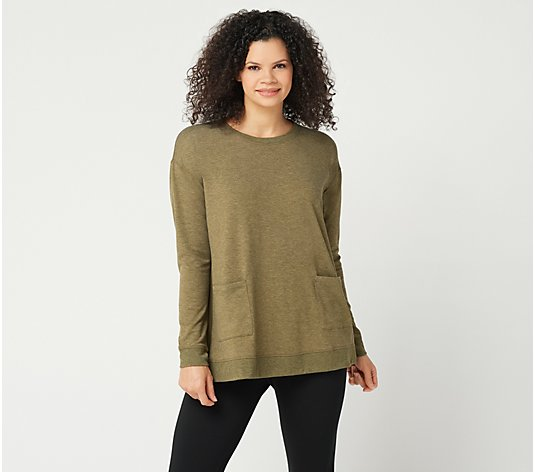 LOGO Lounge by Lori Goldstein Relaxed Top with Woven Back