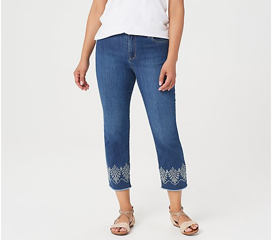 Susan Graver Regular High Stretch Denim Crop Jeans