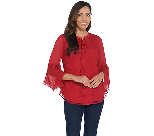 """As Is"" Isaac Mizrahi Live! Chantilly Lace Tie Neck Peasant Blouse"