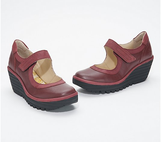 FLY London Leather Mary Jane Wedges - Yolt
