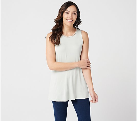 """As Is"" LOGO Layers by Lori Goldstein Knit Tank with Printed Neck"