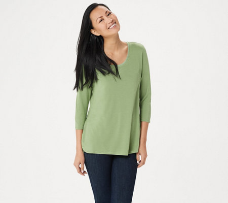 As Is H By Halston Essentials 3 4 Sleeve Top With Shirttail Hem