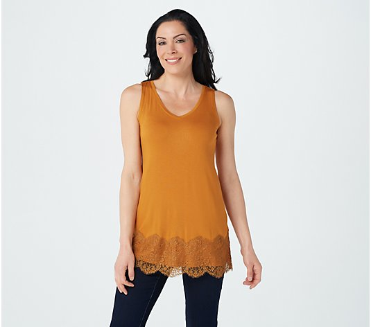 LOGO Layers by Lori Goldstein Rayon Span Tank with Lace Panel at Hem