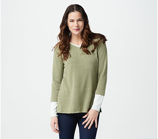 Isaac Mizrahi Live! V-Neck Sweater with Layered Stripe Sleeve