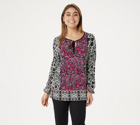 """As Is"" Susan Graver Printed Liquid Knit Top"