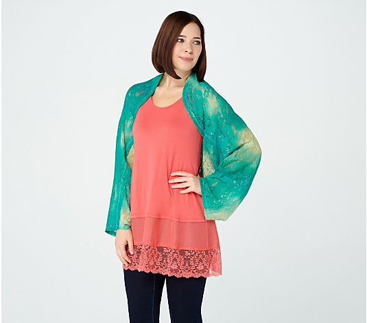 LOGO by Lori Goldstein Printed Lace Shrug